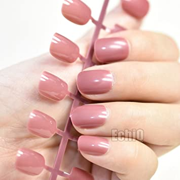 Amazon.com : Children Candy False Nails Pink Purple Short Full Cover Round Fake Nail Tips Daily Wear Manicure Accessories pink purple : Beauty