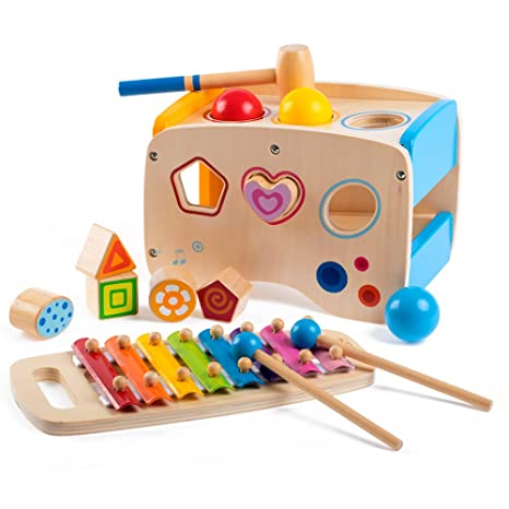 Rolimate Wooden Learning Hammering Pounding Toys 8 Notes Xylophone Shape Color Recognition