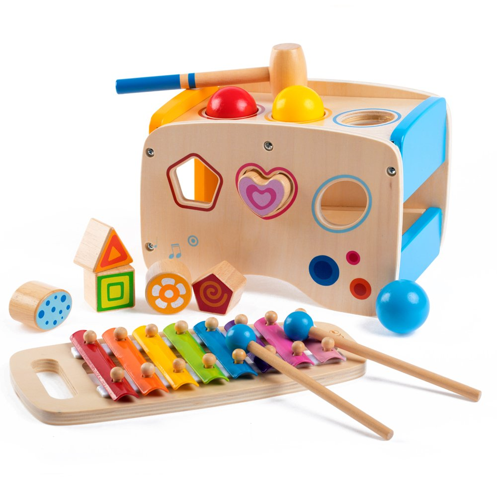 rolimate Wooden Learning Hammering & Pounding Toys + 8 Notes Xylophone + Shape Color Recognition, Best Birthday Gift Toy for Age 1 2 3 Years Old and Up Kid Children Baby Toddler Boy Girl by rolimate (Image #1)