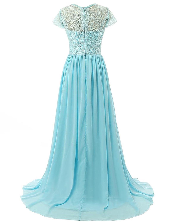 Carnivalprom Damen Lange Brautjungfer Kleid Chiffon Spitze Abendkleider mit  Ärmeln: Amazon.de: Bekleidung
