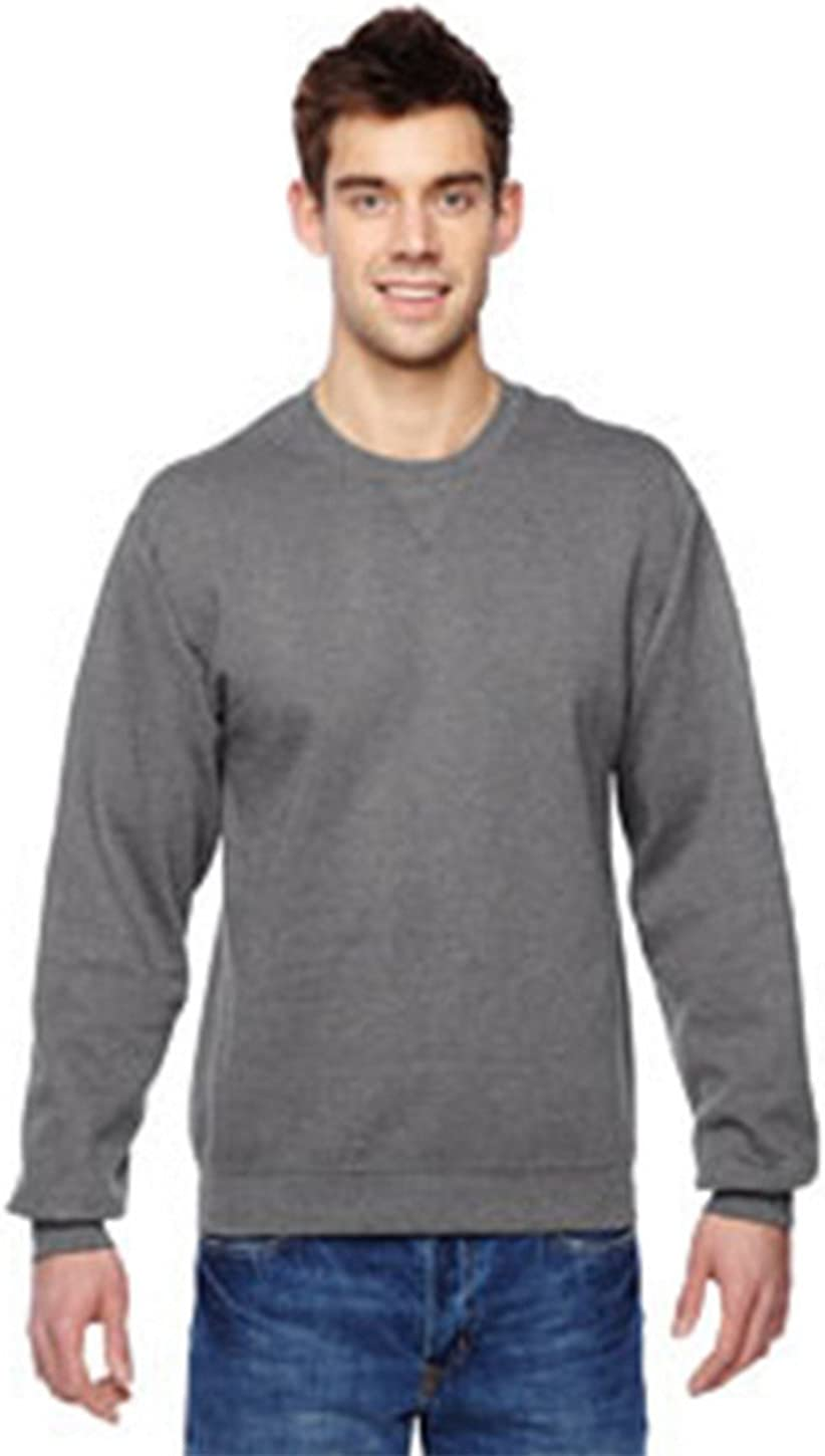 Fruit of the Loom mens 7.2 oz. Sofspun Crewneck Sweatshirt(SF72R)-CHARCOAL HEATHER-L