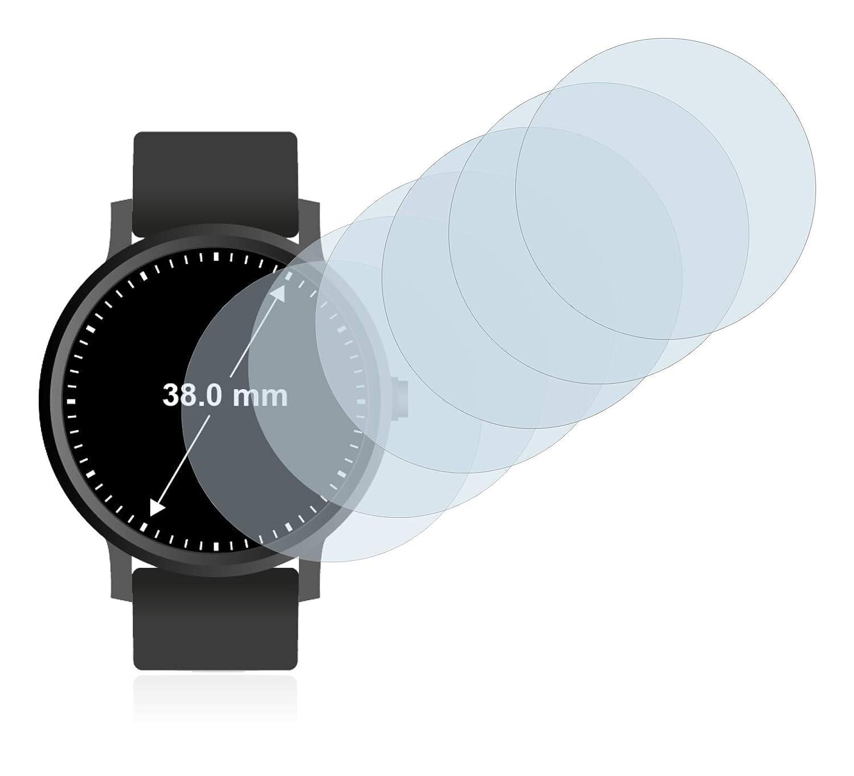 Circular, Di/ámetro: 38 mm savvies Protector Pantalla Compatible con Relojes 6 Unidades Pelicula Ultra Transparente