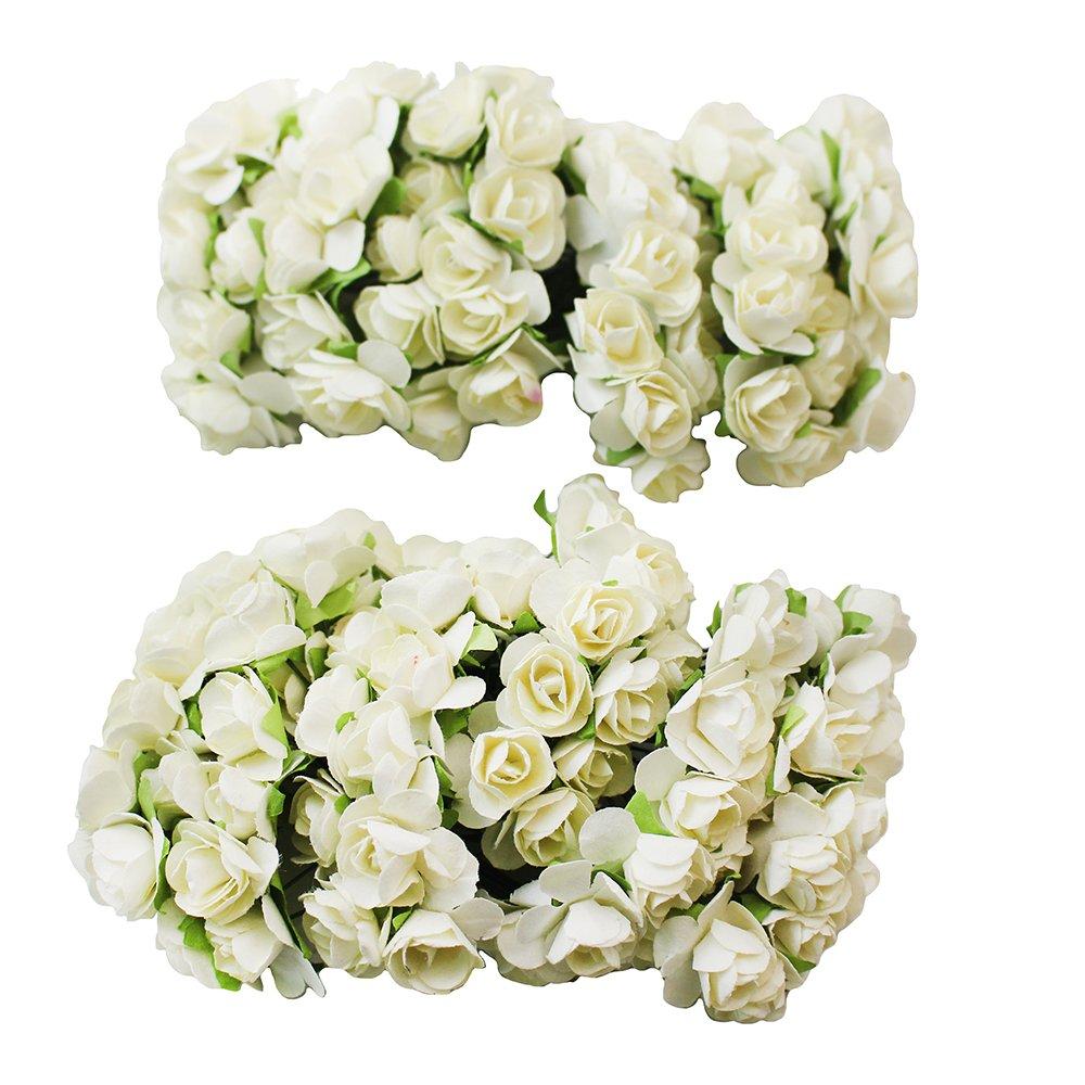 23e3451f2 BestOfferBuy 144 Rosas de Papel Tipo Mulberry Flores de 15mm Blanco Crudo  para Bodas Scrapbook Manualidades: Amazon.es: Hogar