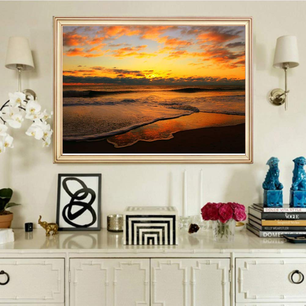Kids Room Gift for Her Him Sunrise at Sea 15.7x11.8in 1 Pack by INOYS Office 5D Diamond Painting Kits for Adults Home Decoration