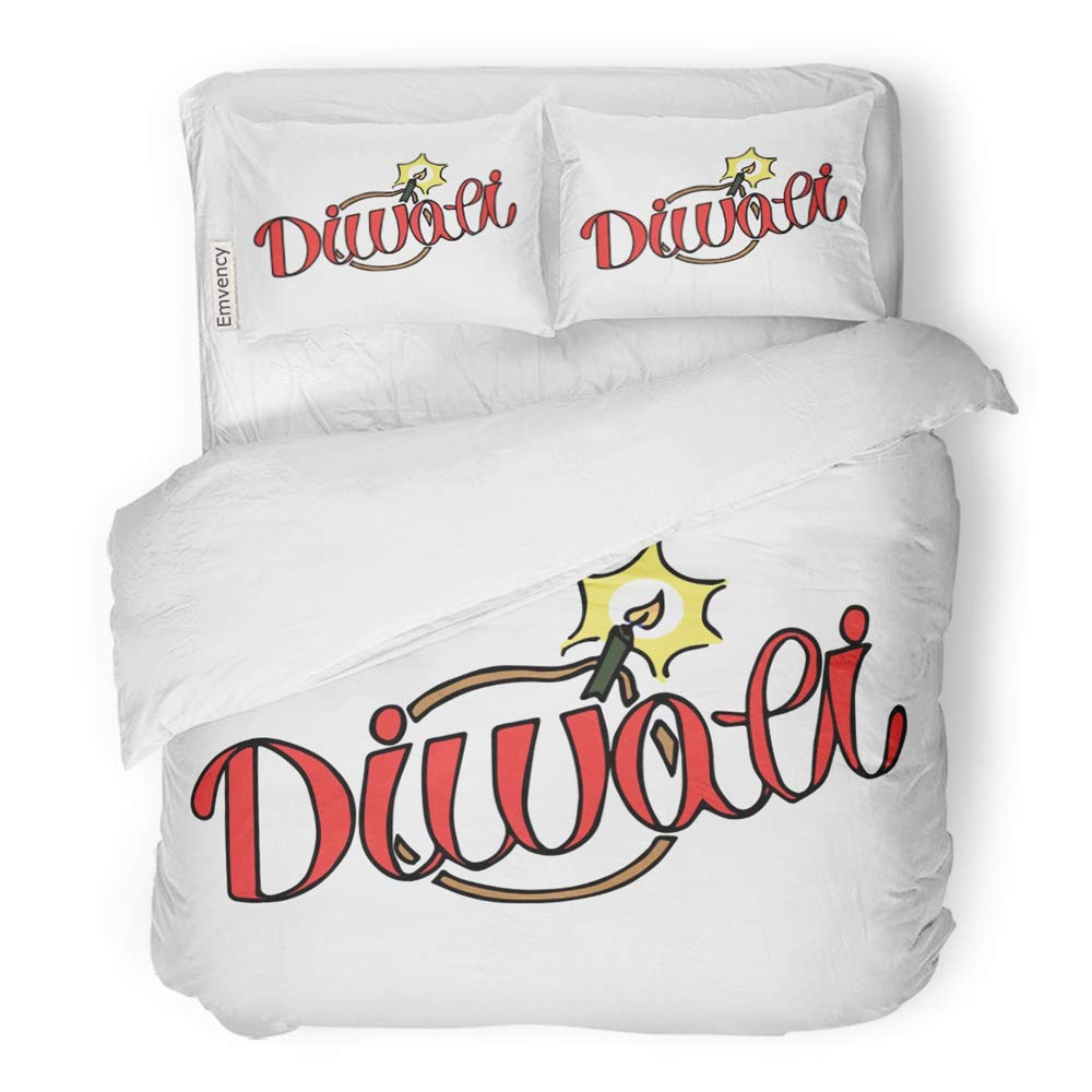 Emvency 3 Piece Duvet Cover Set Brushed Microfiber Fabric Breathable Title Made in The of Modern Hand Lettering Inscription Diya Burning Candle Wick Bedding Set with 2 Pillow Covers Full/Queen Size