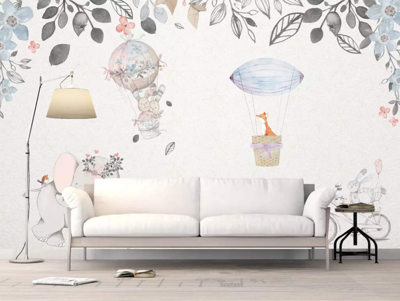 Amazon.com: Murwall Kids Wallpaper Animals Wall Mural Nursery Hot Air Balloon Wall Art Elephant Rabbit Wall Painting Girls Boys Bedroom Baby Room Wall Decor: Handmade