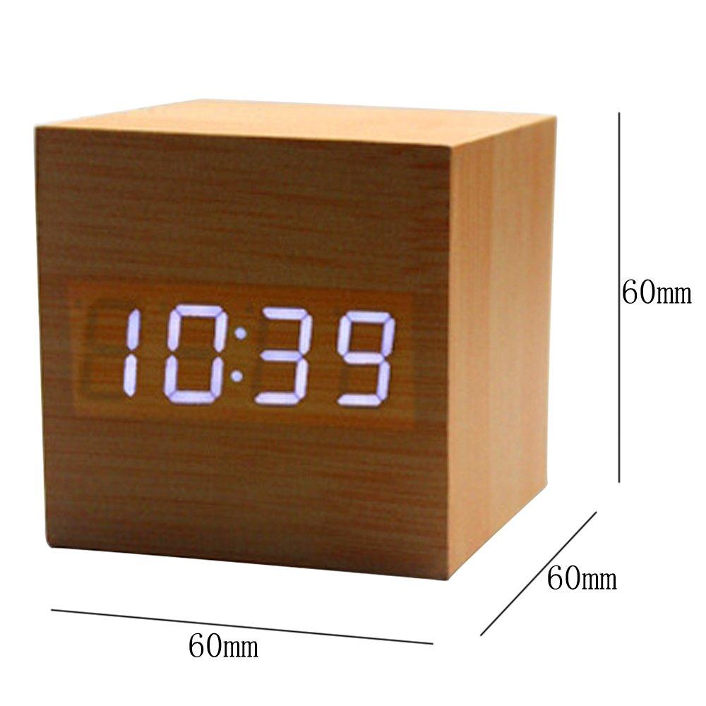 Amazon.com: KINDOYO Cubo de control de sonido de visualización de madera moderno LED Digital Despertador de escritorio Reloj USB / de pilas de reloj de ...