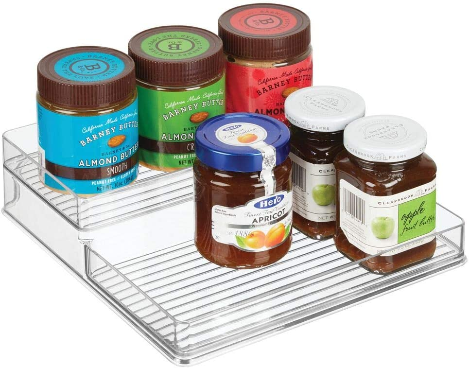 mDesign Plastic Kitchen Food Storage Organizer Shelves, Spice Rack Holder for Cabinet, Cupboard, Countertop, Pantry - Holds Spices, Jars, Baking Supplies, Canned Food, Pasta - 2 Levels, 10