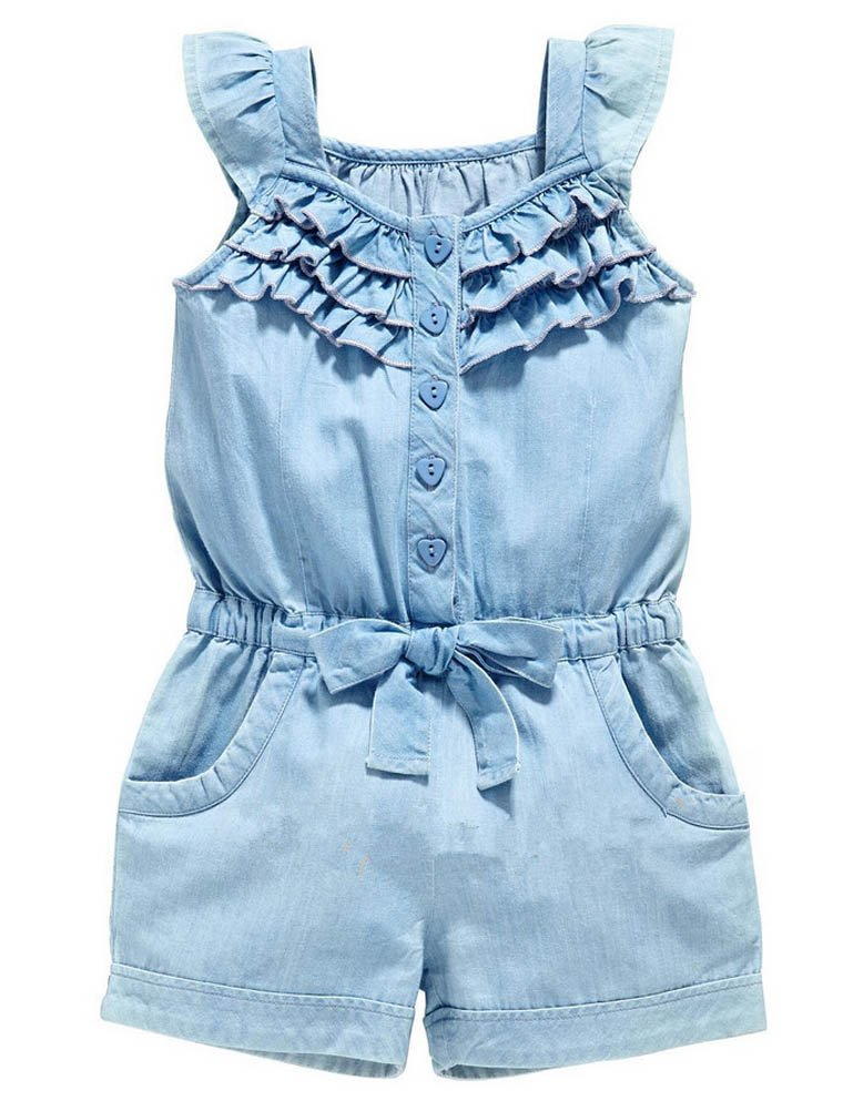 ARAUS One Piece Strap Romper Infant Baby Girl Sleeveless Bowknot Denim Jeans Jumpsuit Bodysuit Pants Summer Clothes Outfits 3530P10