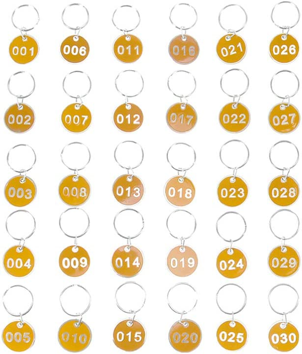 NUOBESTY Aluminium Nummerierte Tags mit Schl/üsselanh/ängern 1 Satz Gelb Nummer 1-100 Aufbewahrungsanh/änger Nummeranh/änger Schl/üsselanh/änger Tragbare Gep/äckanh/änger Schl/üsselanh/änger