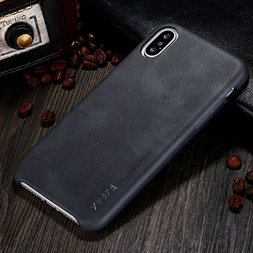 iPhone X case, X-Level [Vintage Series] Premium PU Leather Slim Fit Ultra Light Soft Touch Protective Mobile Cell Phone Case Back Cover for Apple iPhone X/iPhone 10 (2017) - Black