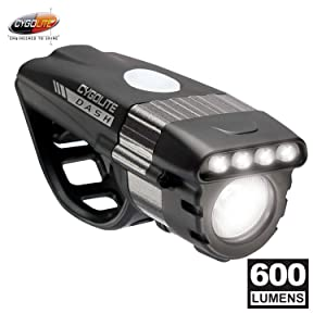 Cygolite Dash Pro– 600 Lumen Bike Light– 5 Night & 3 Daytime Modes– Compact & Durable– IP64 Water Resistant– Sturdy Flexible Mount– USB Rechargeable Headlight– for Aero Road & Commuter Bicycles