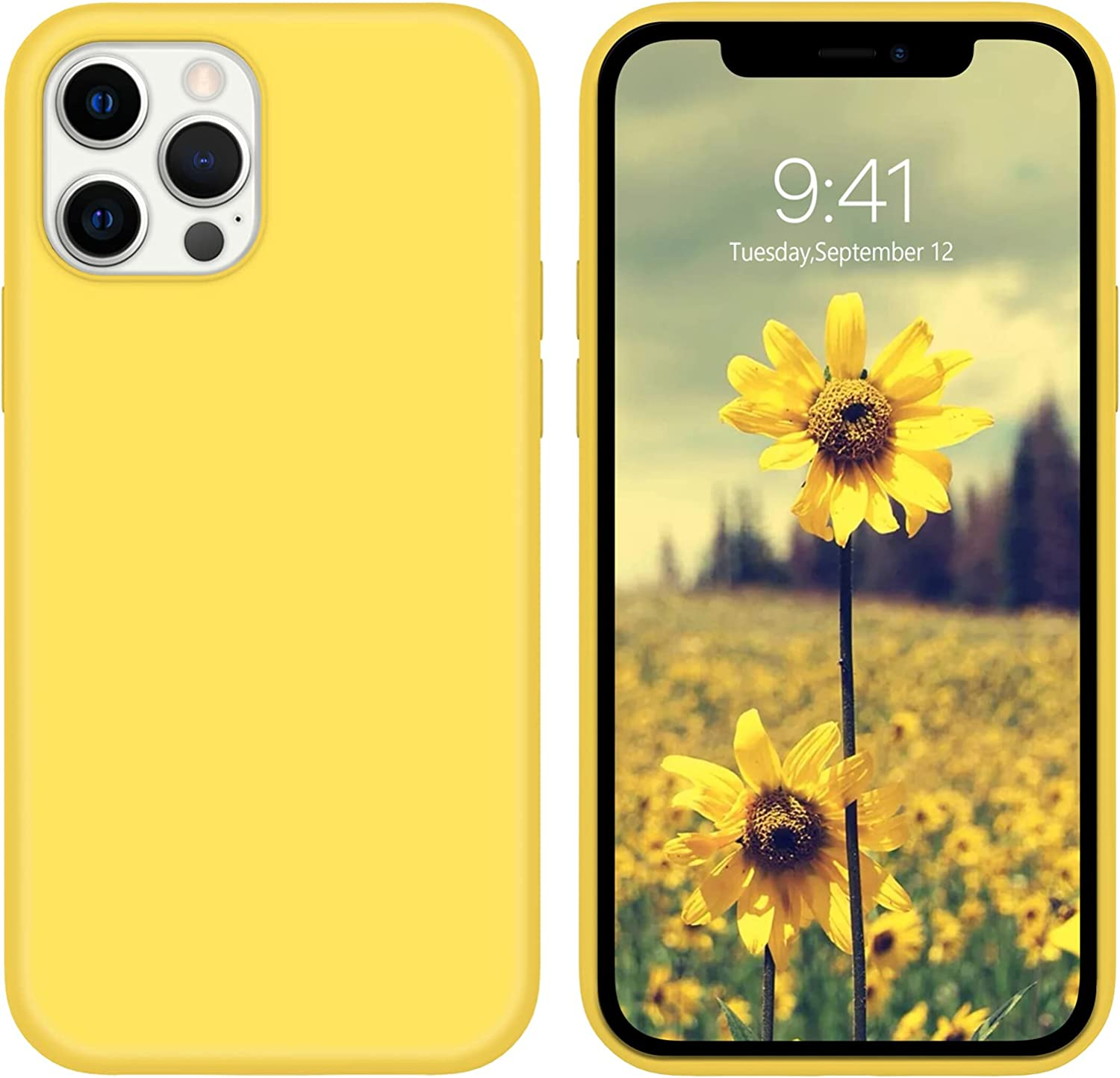 DUEDUE Compatible with iPhone 12 Case,iPhone 12 Pro Case, Liquid Silicone Soft Gel Rubber Slim Cover with Microfiber Cloth Lining Cushion Shockproof Full Protective Case for iPhone 12/12 Pro, Yellow