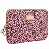 BagsFromUs Lisen Canvas Fabric Stylish Leopard's Spots Leopard Print Style 7-15.6 Inch Laptop Sleeve Computer Protective Carrying Case Bag Cover for iPad / Macbook / Dell / HP / Lenovo / Sony / Toshiba / Acer etc. (Pink, 10 inch)