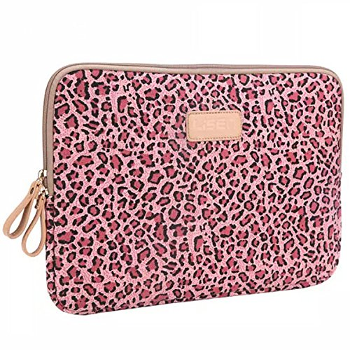 BagsFromUs Lisen Canvas Fabric Stylish Leopard's Spots Leopard Print Style 7-15.6 Inch Laptop Sleeve Computer Protective Carrying Case Bag Cover for iPad / Macbook / Dell / HP / Lenovo / Sony / Toshiba / Acer etc. (Pink, 15.6 inch)