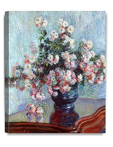 DecorArts - Chrysanthemums, Claude Monet Art Reproduction. Giclee Canvas Prints Wall Art for Home Decor 20x16