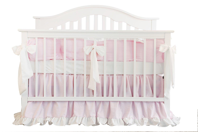 Blush コーラルピンクフリルクリブ寝具セット 女の子の赤ちゃん寝具ブランケット 子供部屋のベビーベッドスカートセット 女の子のベビーベッド寝具シーツ 3 pieces set ピンク 3 pieces set Pear Pink B07HHXDXTR