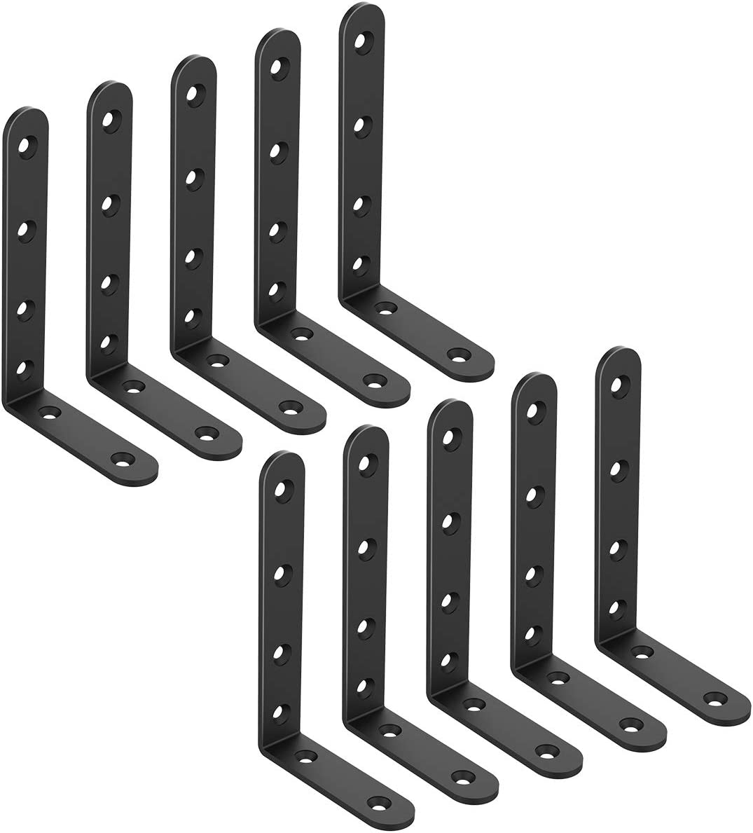 10 Pcs L Bracket Corner Braces 5x3 Inch Metal Heavy Duty Shelf Bracket L Joint Angle Shelf Support Corner Braces for Shelves, Furniture Cabinet with Screws (10 Pack) …
