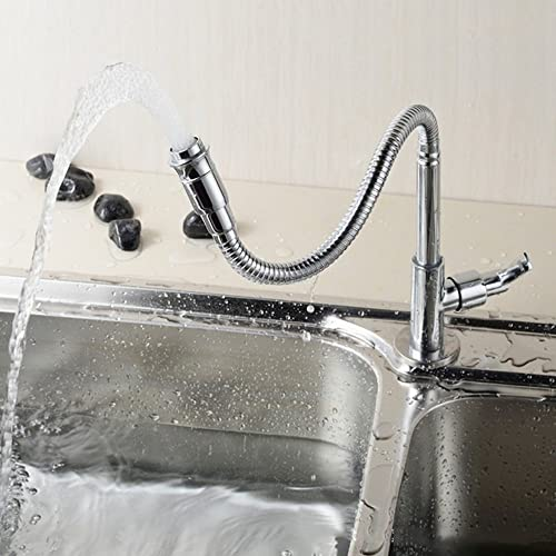 Kitchen Faucet Single Hole Sinlge Lever Kitchen Sink Faucet Stainless Deck-Mounted Kitchen Taps with Flexible Gooseneck