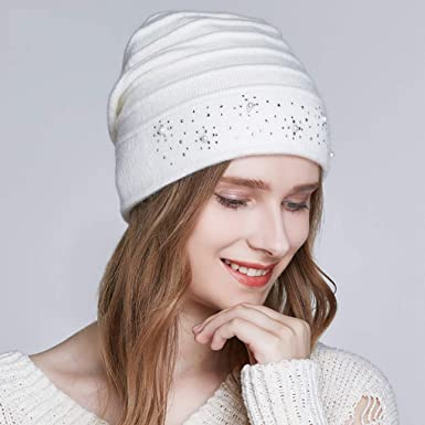 RXIN Winter Hats Women Warm Wool Beanies Hat 2018 Double Lining Caps ... 0935e7c53d2