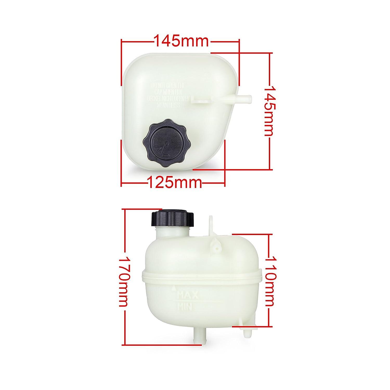 Dromedary 17137529273 Radiator Coolant Expansion Header Tank Bottle W//Cap For Mini Cooper S R52 R53