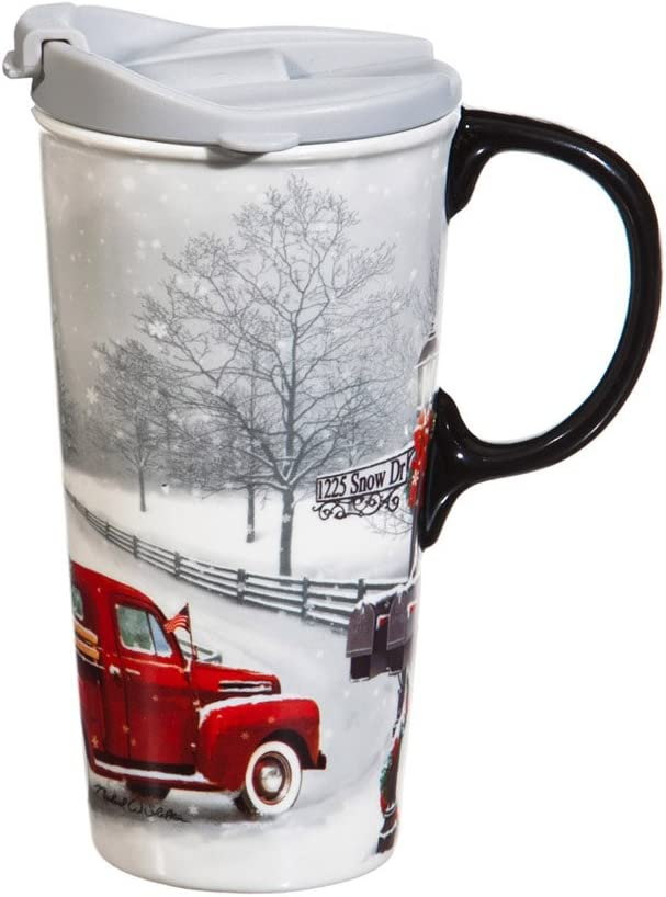 Cypress Home Beautiful Winter Truck Ceramic Travel Cup with Matching Box - 4 x 5 x 7 Inches Indoor/Outdoor home goods For Kitchens, Parties and Homes
