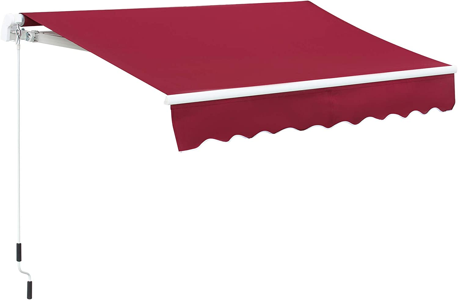Outsunny 8' x 7' Patio Retractable Awning/Manual Exterior Sun Shade Deck Window Cover, Wine Red