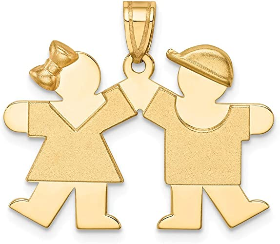 The Kids Collection 14K Yellow Gold Solid Engravable Small Girl on Left /& Boy on Right Charm Pendant