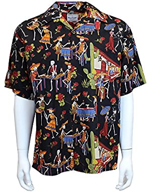 Day of The Dead Camp Shirt – Black – Button up Collared Short Sleeve Mechanic Camp/Club Shirt