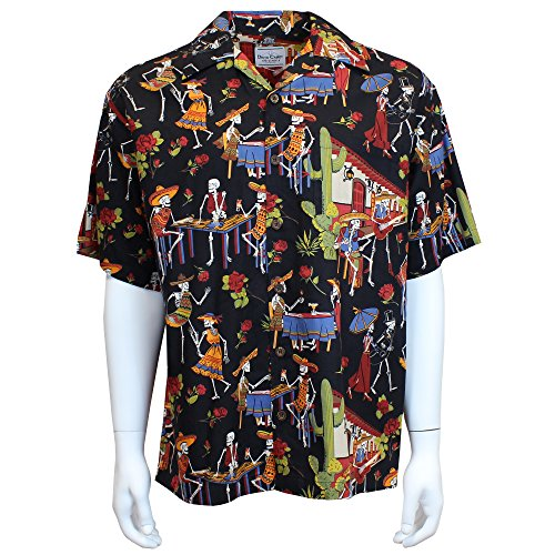 David Carey Day of The Dead Camp Shirt - Black - Button Up Collared Short Sleeve Mechanic Camp/Club Shirt, L -