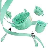 Babycare 儿童餐具 宝宝餐具 注水保温碗套装 宝宝训练五件套餐具 316不锈钢升级版 (薄荷绿)