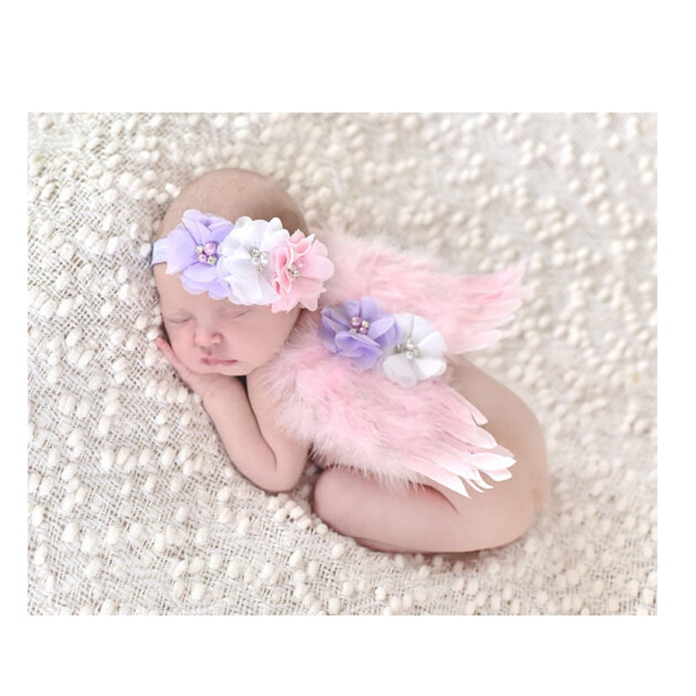 Tinksky Photo Prop tenue bébé fille ange plume aile Costume mousseline de soie avec bandeau nouveau-né Photo Prop Costume (rose)