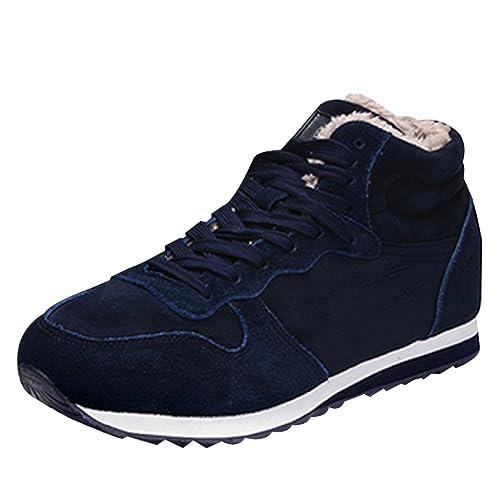 BOZEVON Hombres Mujer Unisexo Zapatos de Nieve Invierno Botines Martin Boots Casual Calentar Forro de Zapatillas de Cordones, Azul: Amazon.es: Zapatos y ...