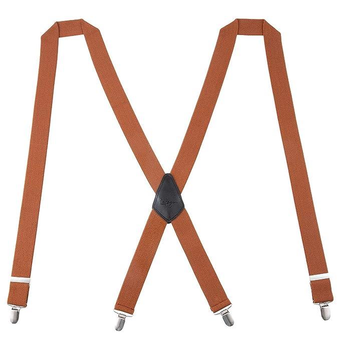 KANGDAI Tirantes Hombres Tirantes para hombres Anchos con 4 Pinzas de 1,4 Pulgadas Tirantes El/ásticos Firmes con Pinzas de Acero Inoxidable