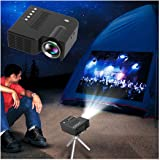 Mini LED Projector 1080P Portable Multimedia Home Cinema Theater Video Projectors Black (USB Port)