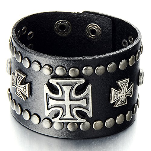 Mens Wide Leather Bracelet with Cross and Rivets Black Leather Wristband with Snap Button