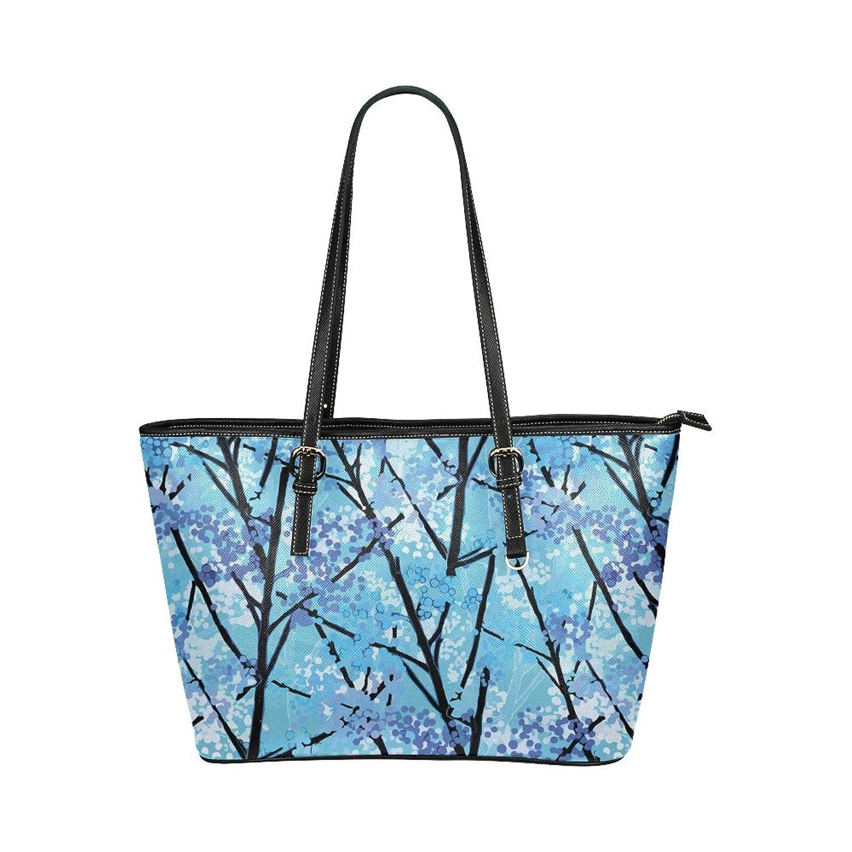 Interestprint Custom Shoulder Bag Abstract Geometric Blue Tree Nature Leather Tote Bag Large