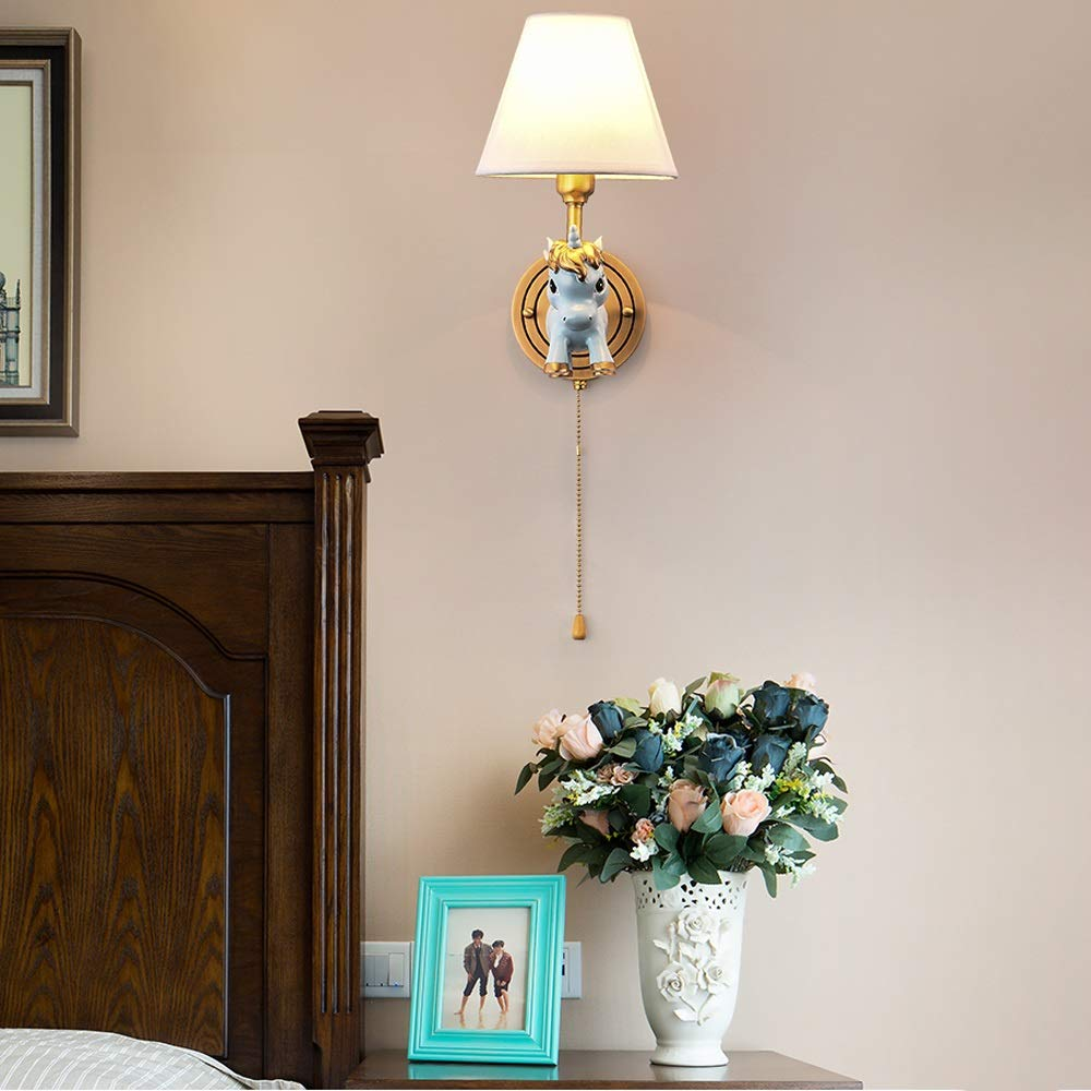 Color : Blue-1 Light Unicorn Wall Lamp with Zipper Switch Wall Lighting Fixtures with Fabric Shade E14 Socket Sconces Girls Copper Boys Wall Mount Night Light for Kids