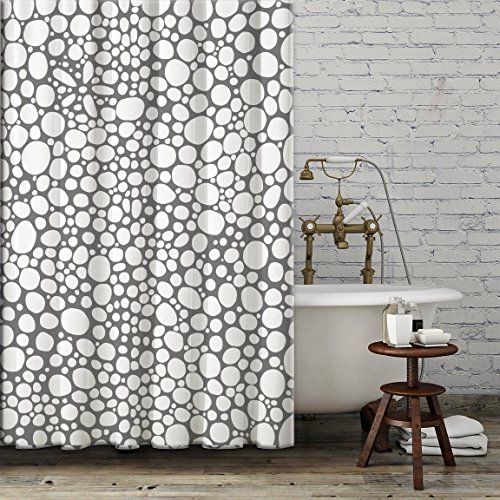 Grey and White Shower Curtain. Modern unique funky bathroom accessories. Add a matching bath mat! Artwork by mixed media artist C.Cambrea.