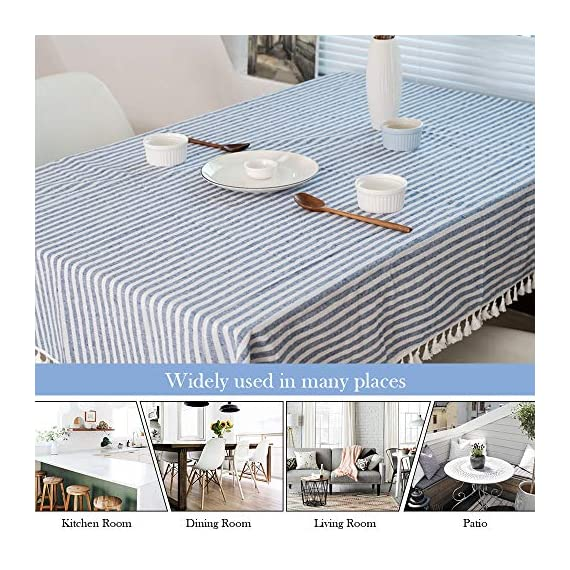 """ColorBird Stripe Tassel Tablecloth Cotton Linen Dust-Proof Table Cover for Kitchen Dinning Tabletop Decoration (Rectangle/Oblong, 55 x 86Inch, Blue) - DELICATE PRINTING - Featuring elegance stripe pattern on cotton linen fabric with beautiful tassel edge, adorn a dining table with this ColorBird modern tablecloth to start off a traditional tablescape, then dole out shimmery flatware and simplistic porcelain plates to make your meal time more luxurious DURABLE CONSTRUCTION - Manufactured from super, hard wearing 100% cotton linen fabric, with a seamless construction that won't easily fray after long term use; Tablecloth measures 55"""" Width x 86"""" Length (140 x 220 cm), includes tassel length, size deviation is between 1 to 2 inch. Fits tables that seat 6-8 people EASY TO CARE - Machine washable in low temperature or cold water, gentle cycle; Hand wash best; No bleaching; Tumble dry on low heat or lay flat to dry. Please avoid being outdoors in direct sunlight too long - tablecloths, kitchen-dining-room-table-linens, kitchen-dining-room - 61ZYuEXlrPL. SS570  -"""