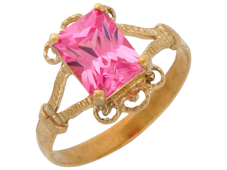 Amazon.com: 14k Yellow Gold Fine Simulated Pink Topaz Ladies Vintage ...