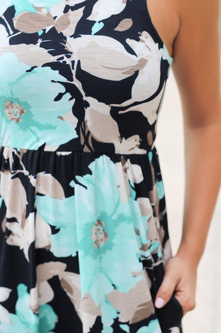 ❤️ Schulter Faltenrock ❤️ Damen Party Club Kleider /Ärmellos Kleid 50er Vintage Retro Kleid Sommerkleid Kleidung Unter 10 Euro ❤️ Damen AbendKleid Blumen Maxikleid
