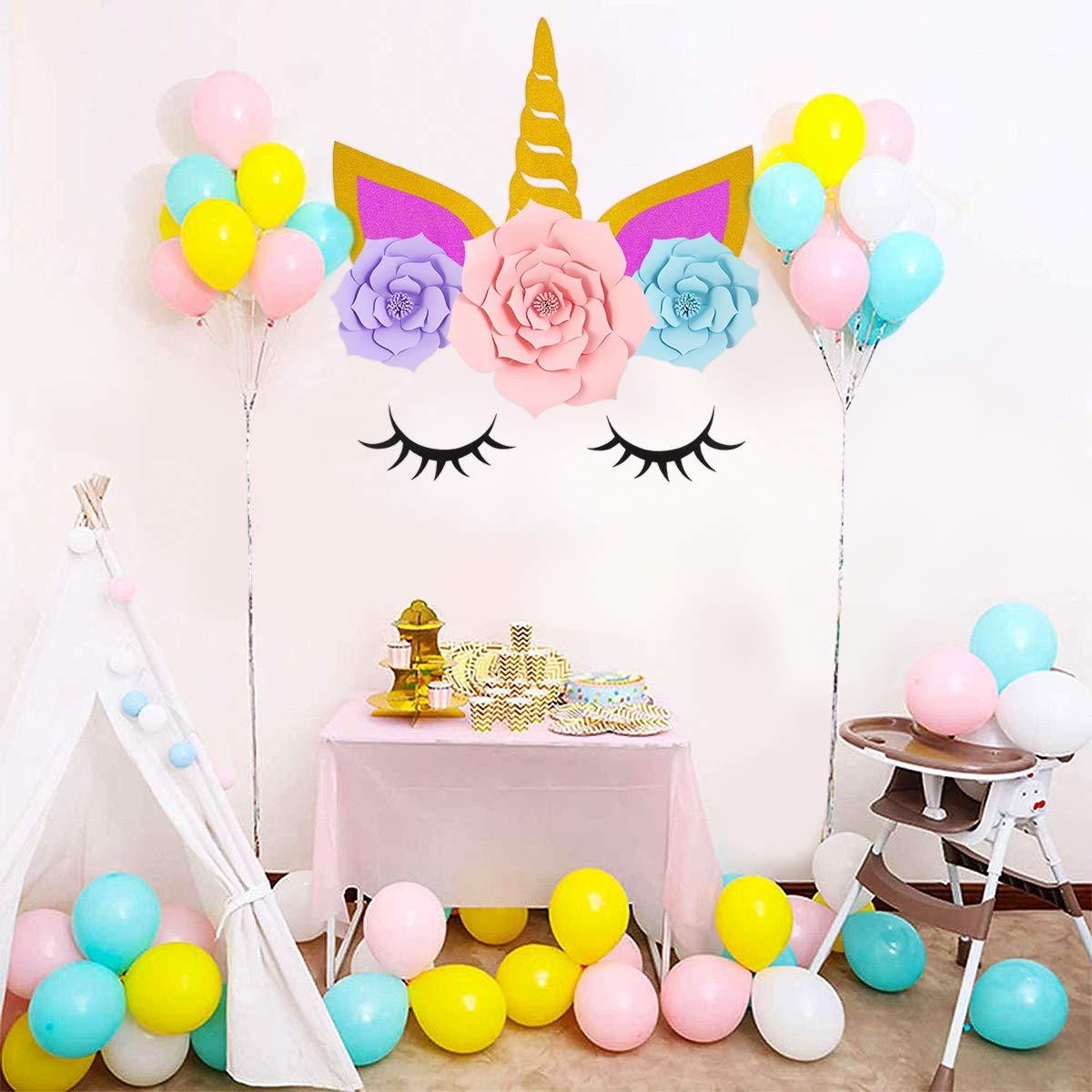 BESTOYARD Unicornio con Flor DIY Decoraciones de Fiesta Unicornio Cumpleaños Bautizo Fondo Unicornio para Foto