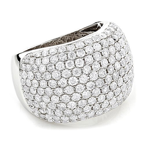 Luxurman Ladies 14K Designer Pave Natural Diamond Ring (White Gold Size 9)