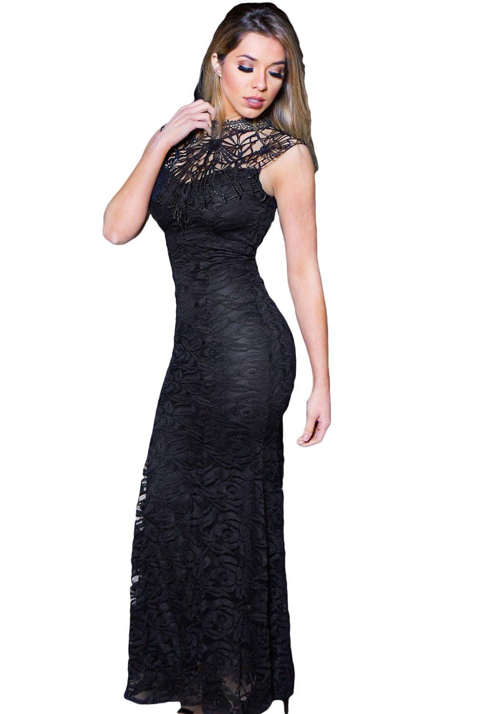 Black Lace Sleeveless Long Mermaid Dress size M UK 10-12