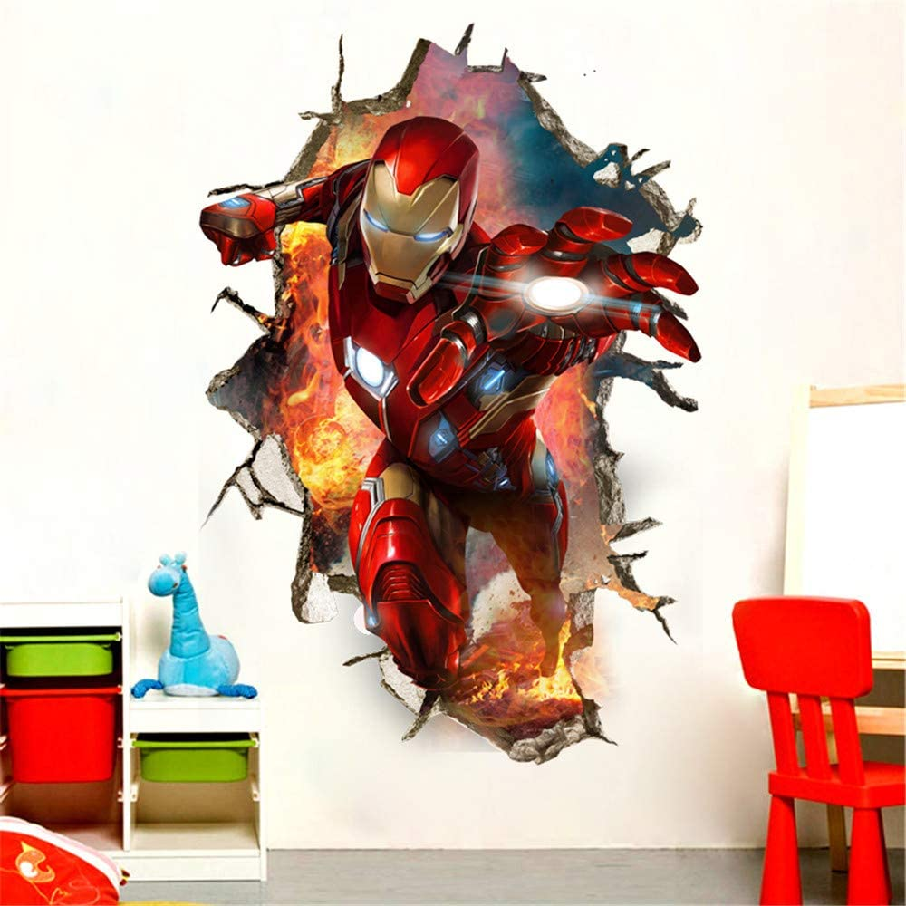 HU SHA Iron-Man Wall Stickers Marvel Wall Decals, Excellent Vinyl Removable Wall Decor for Boys Room Living Room (35.4 x 23.6 inches)