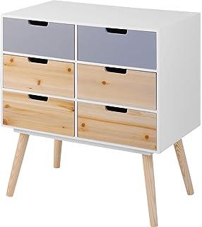 Moderne Holz Kommode Im 70er Jahre Retro Design   6 Schubladen    Beistelltisch Konsolentisch Sideboard