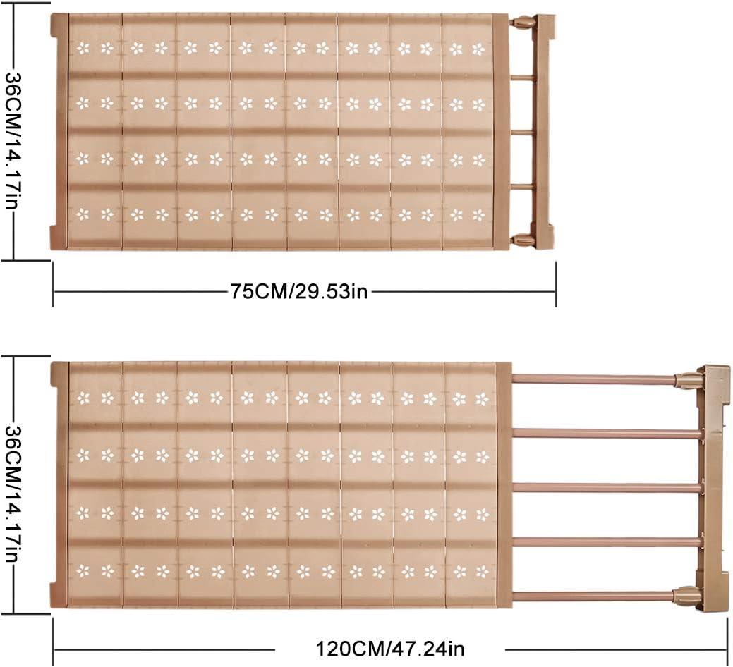 Campo di Regolazione 75-120 cm Bianco iVansa Sistema Telescopico per Guardaroba 75 x 36 x 3,3 cm Scaffale Armadio Divisorio Separatore Mensole Estraibili