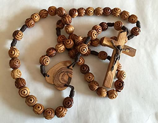 Bethlehem Gifts TM 33 Large Unique Handcarved Olive Wood Beads Heart Centerpiece Wall Rosary