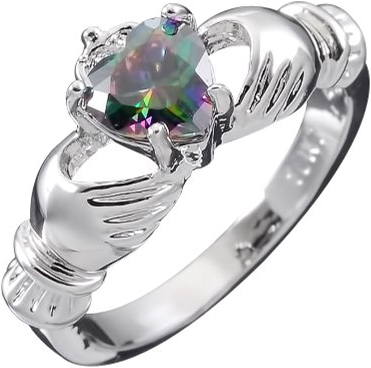 GWG Jewellery Anillos Mujer Regalo Anillo de Claddagh Plata de Ley Dos Manos Que Rodean Corazón de Circonita de Color Topacio Iris con Corona para Mujeres